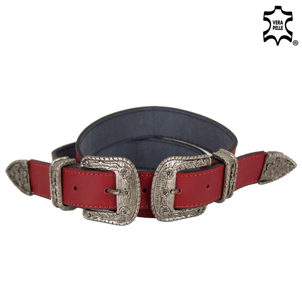 vendita outlet più colori selezione straordinaria Dettagli su Cintura rossa doppia fibbia donna pelle vera cowboy cinta  western fashion 2019