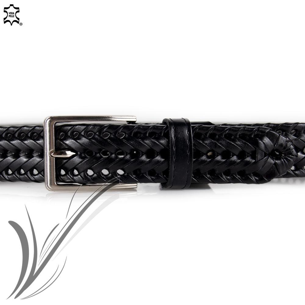 Scarpe 2018 fascino dei costi ultimo sconto Cintura intrecciata nera da uomo in vera pelle cinta artigianale ...